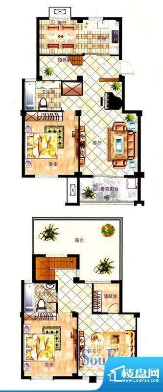 丽景花园空中别墅B1面积:165.02平米