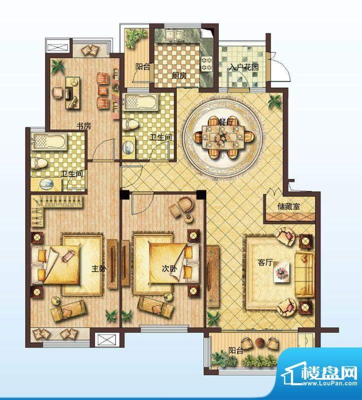 山水绿城C户型 3室2面积:141.00平米