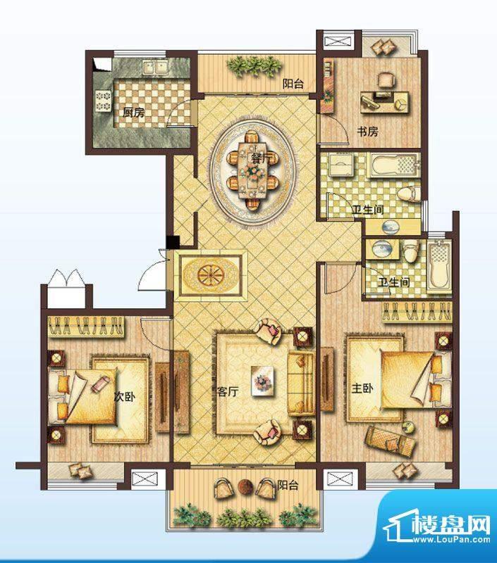 山水绿城D户型 3室2面积:141.00平米