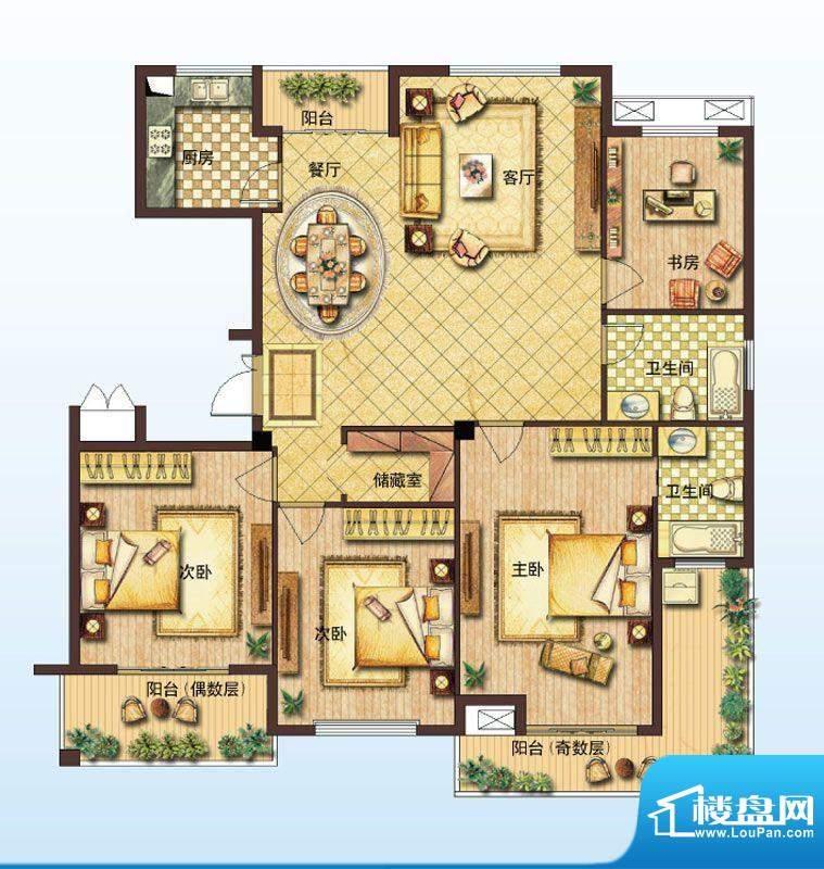 山水绿城E户型 3室2面积:158.00平米
