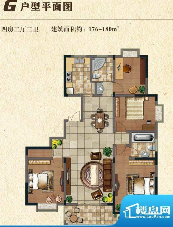 书香门第G户型 4室2面积:178.00平米