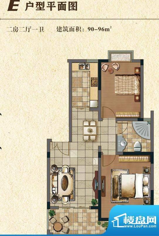 书香门第E户型 2室2面积:93.00平米