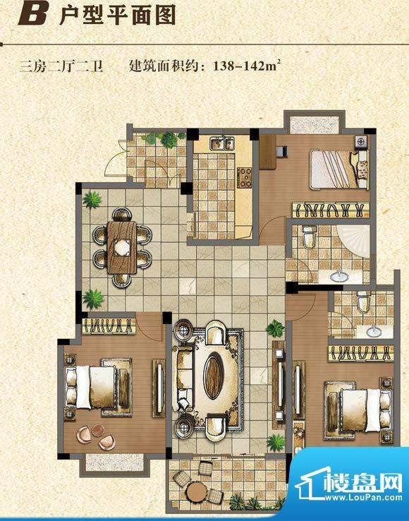 书香门第B户型 3室2面积:140.00平米