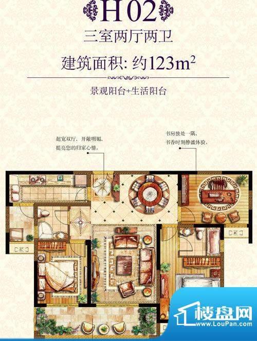 金科东方王府H02户型面积:123.00平米