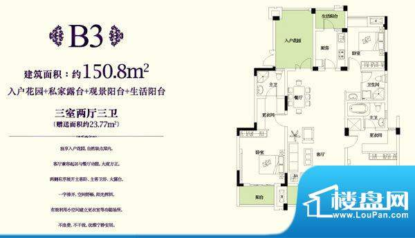 金科东方王府B3户型面积:150.80平米
