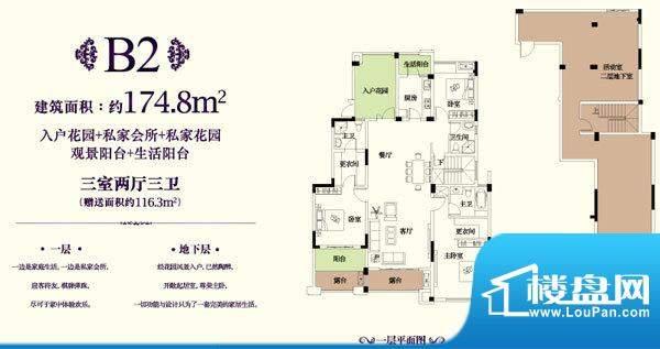 金科东方王府B2户型面积:174.80平米