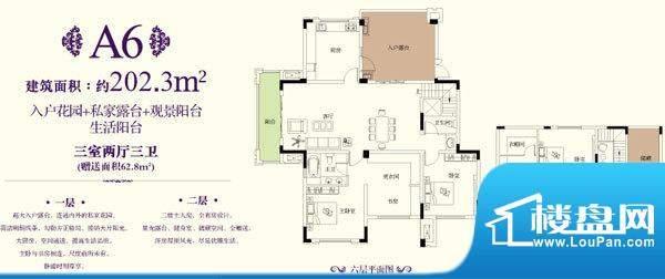 金科东方王府A6户型面积:202.30平米