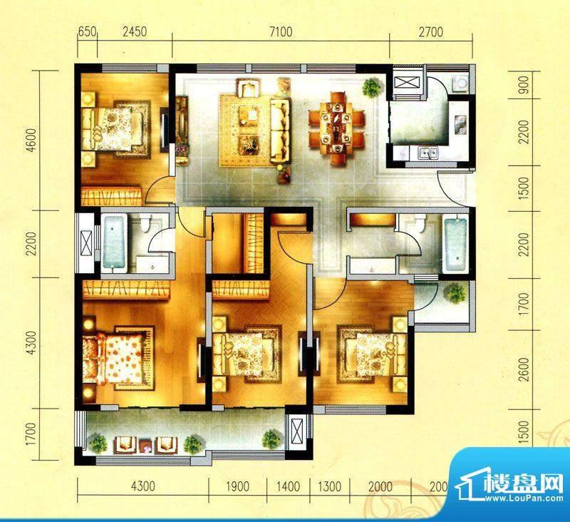 金域天下I户型 4室2面积:174.00平米