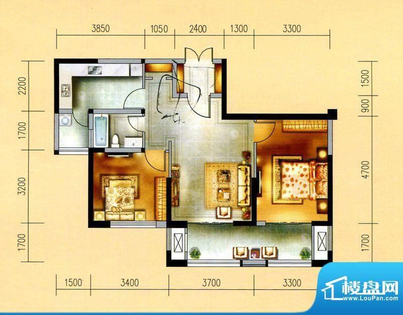 金域天下M户型 2室2面积:90.00平米