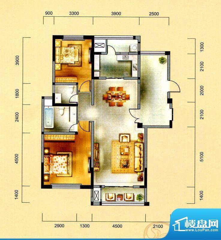 金域天下F户型 2室2面积:127.00平米