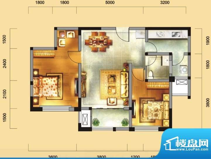 金域天下D户型 2室2面积:87.67平米