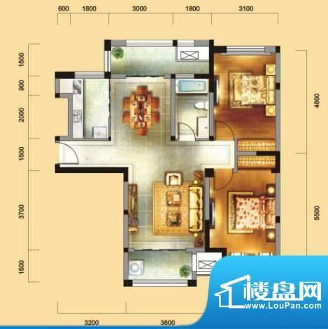 金域天下C户型 2室2面积:102.89平米