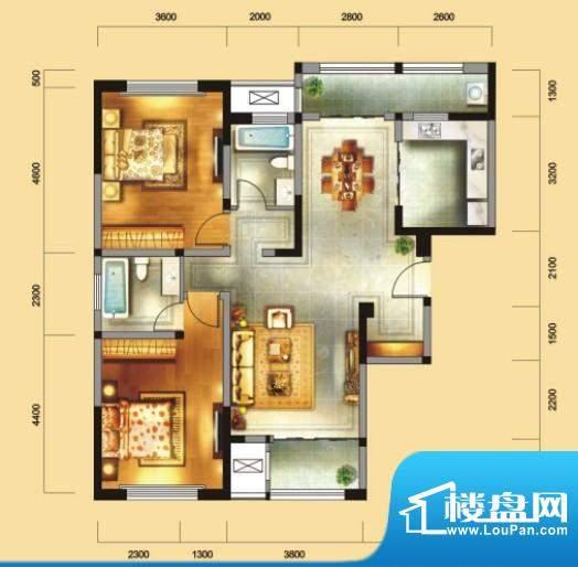 金域天下B户型 2室2面积:122.90平米