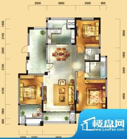 金域天下A户型 3室2面积:143.00平米