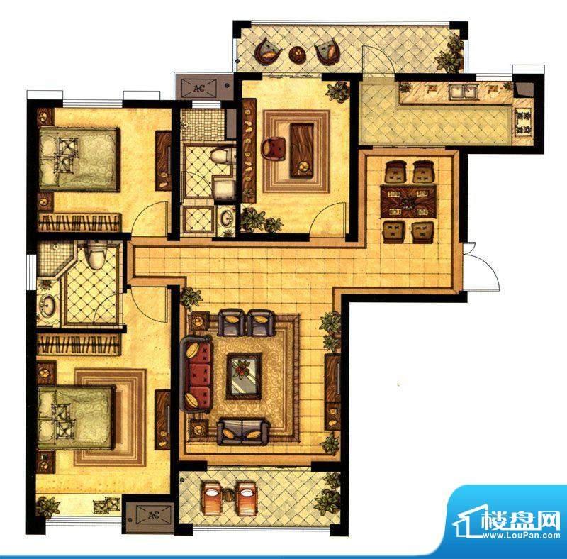 江阴万达广场A1户型面积:125.00平米