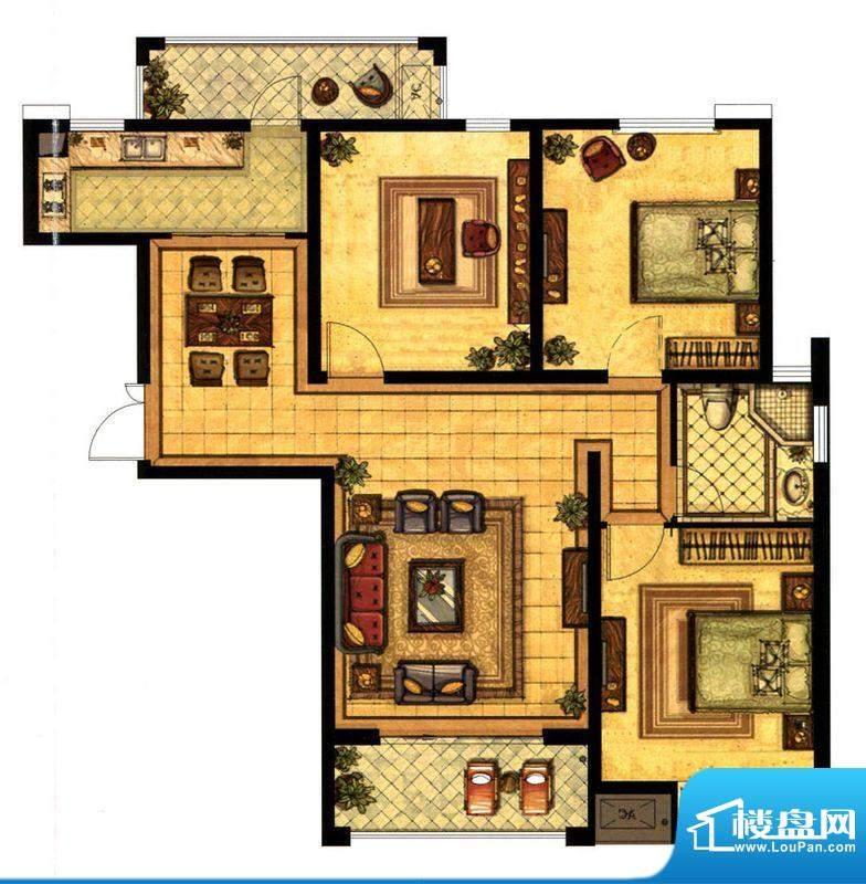 江阴万达广场A3户型面积:126.00平米