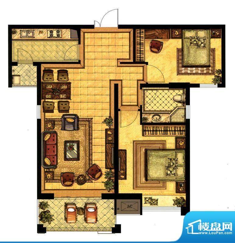 江阴万达广场B2户型面积:98.00平米