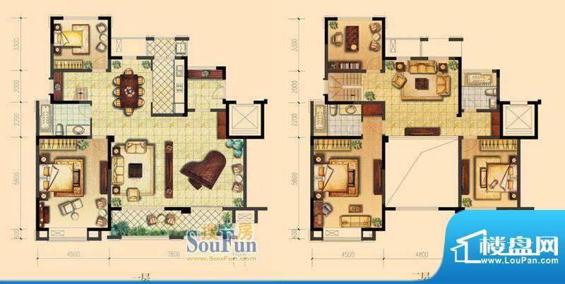 朝宗原筑D户型 5室3面积:280.00平米