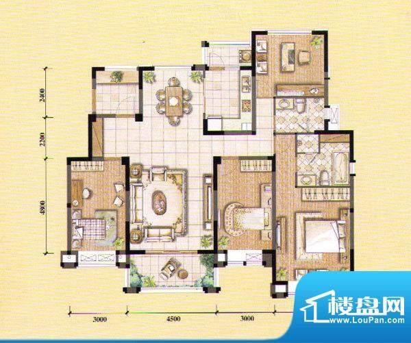 朝宗原筑电梯公馆B户面积:165.00平米