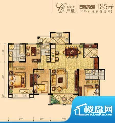 朝宗原筑C户型 4室2面积:185.00平米