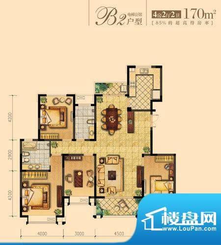 朝宗原筑B2户型 4室面积:170.00平米