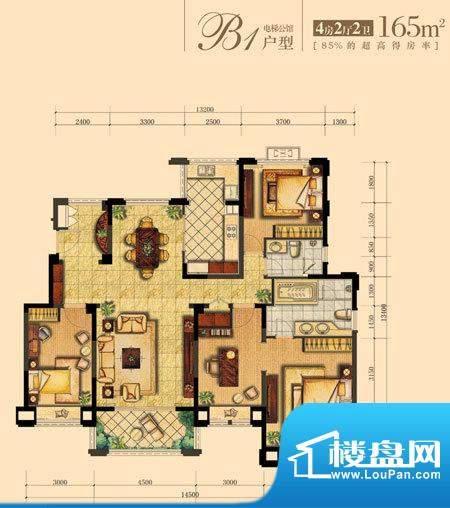朝宗原筑B1户型 4室面积:165.00平米