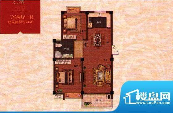 时代观邸A户型 2室2面积:94.00平米