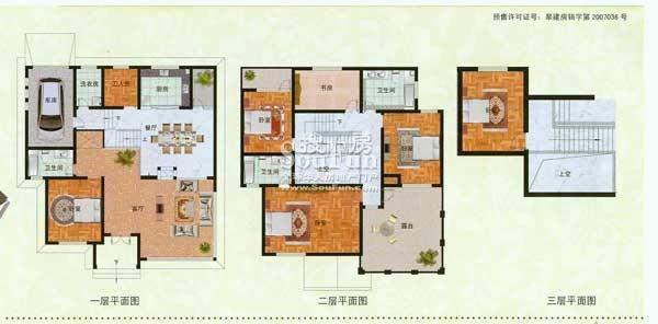 濠园养生墅C户型 6室面积:365.00平米