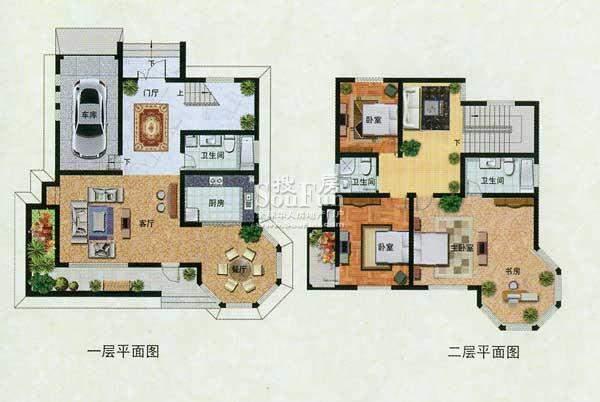 濠园养生墅B户型 3室面积:274.00平米