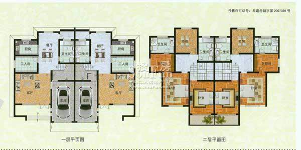 濠园养生墅A户型 6室面积:445.00平米