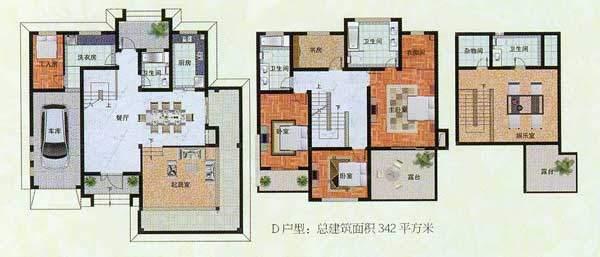 濠园养生墅D户型 4室面积:343.00平米