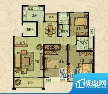 嘉福花园洋房高层H户面积:133.00平米