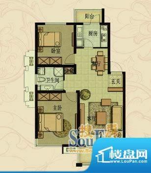 嘉福花园洋房高层I户面积:90.00平米