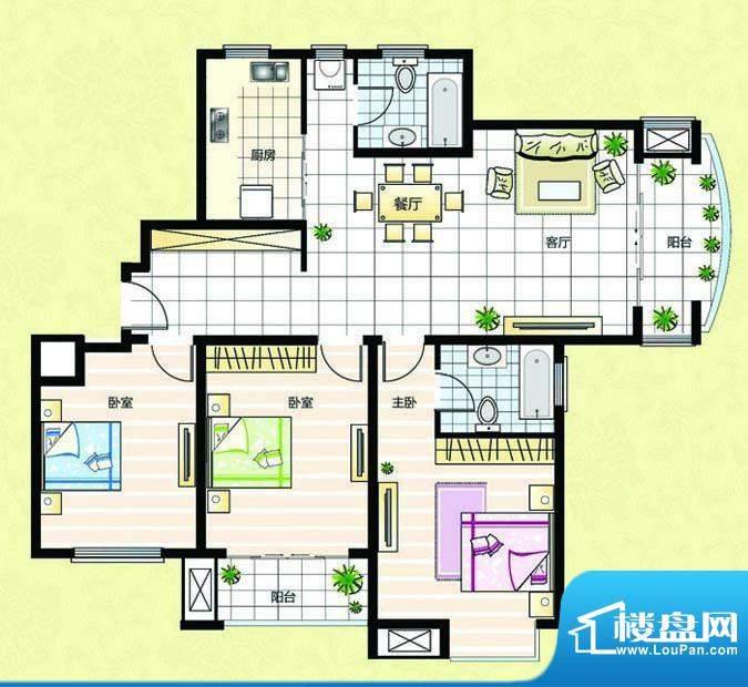 超辰国际花园B型 3室面积:138.49平米