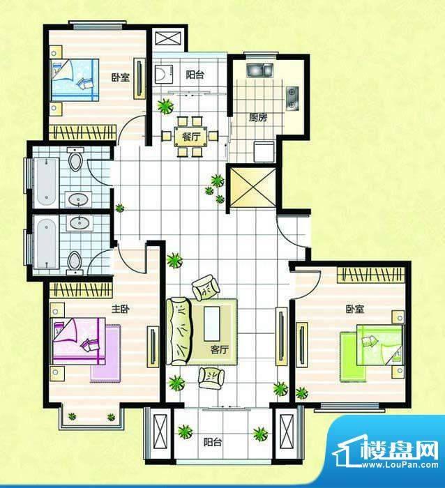 超辰国际花园F型 3室面积:125.94平米