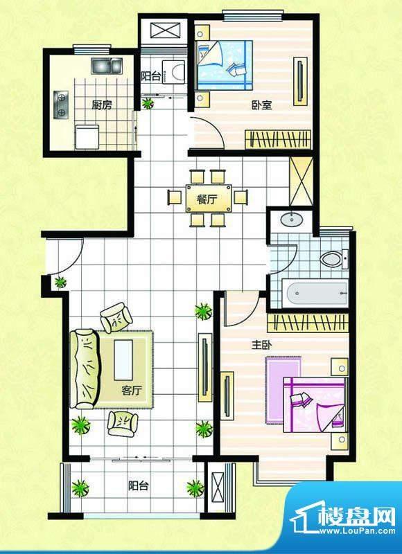 超辰国际花园G型 2室面积:96.79平米
