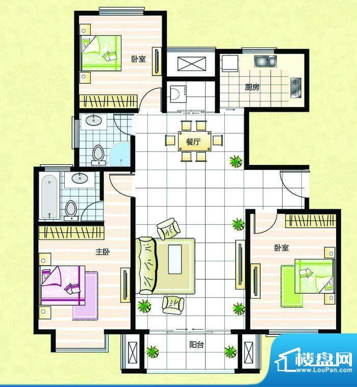 超辰国际花园H型 3室面积:121.64平米
