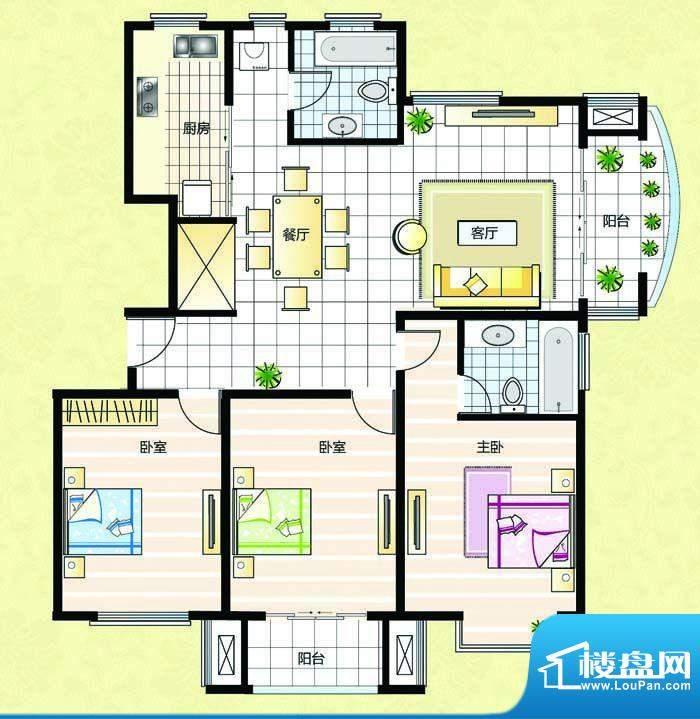 超辰国际花园J型 3室面积:131.29平米