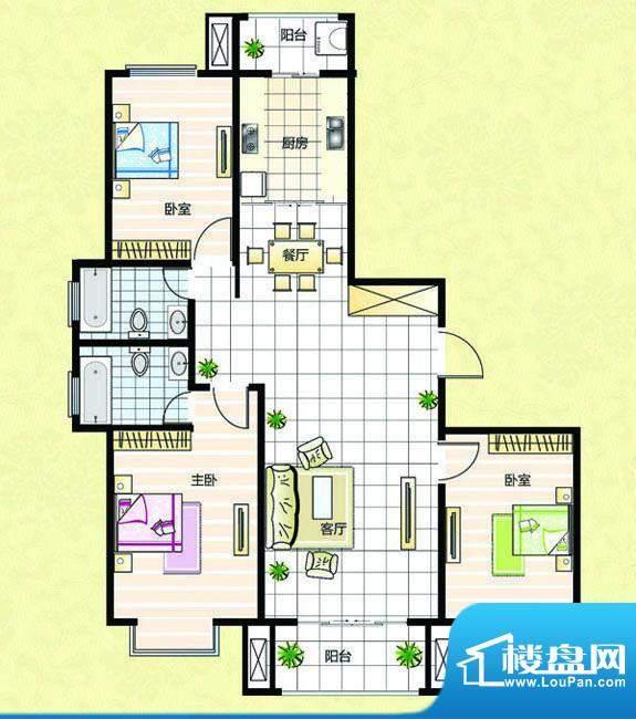 超辰国际花园K型 3室面积:125.66平米