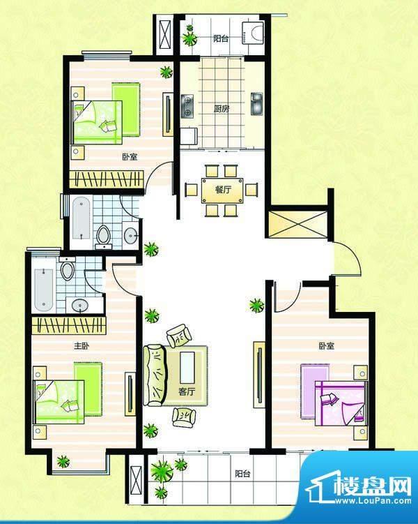 超辰国际花园M型 3室面积:138.49平米