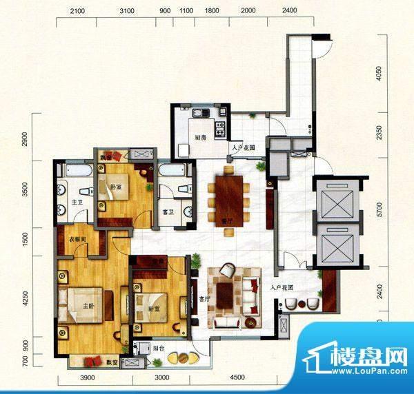 一方城G户型宽敞三房面积:166.23平米