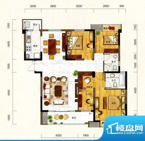 一方城K户型雅居三房面积:140.05平米