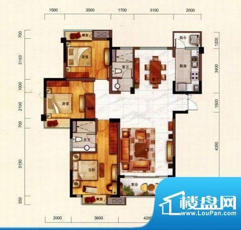 一方城L户型宜居三房面积:139.14平米