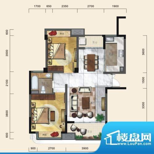 一方城B户型精致两房面积:89.81平米