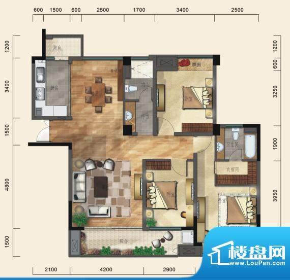 一方城C户型经典三房面积:143.45平米