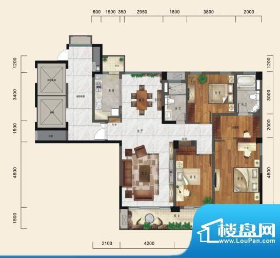 一方城D户型尊贵三房面积:157.46平米