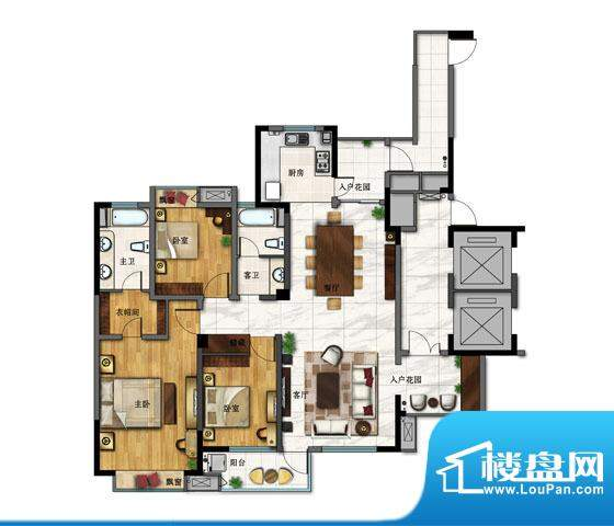 一方城G户型 3室2厅面积:165.40平米