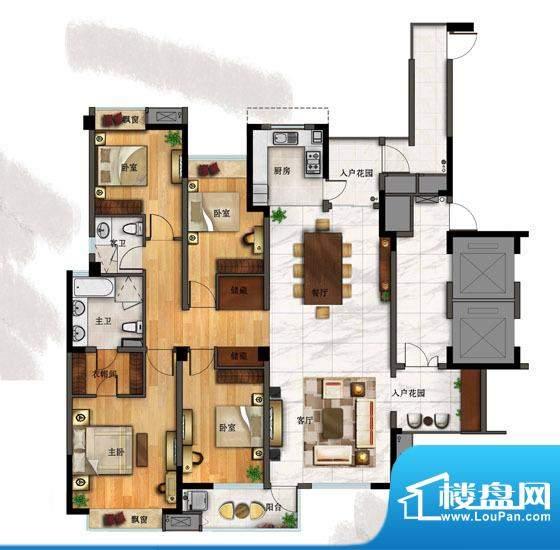 一方城E户型 4室2厅面积:188.82平米