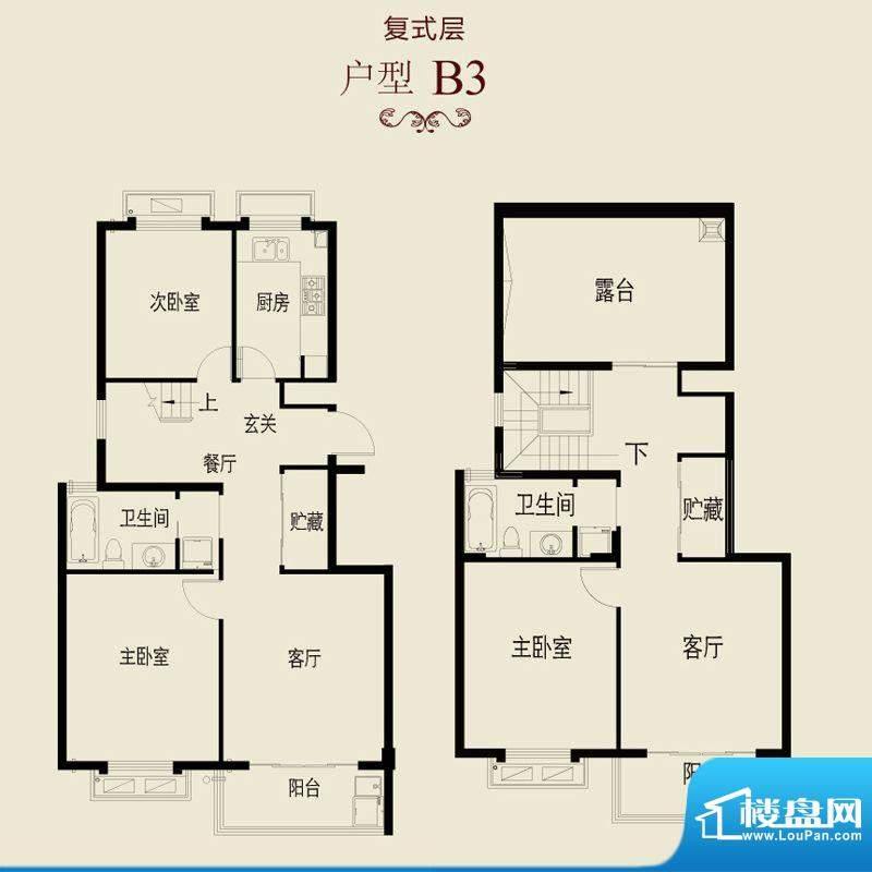 新澄富邸B3户型 3室面积:172.48平米