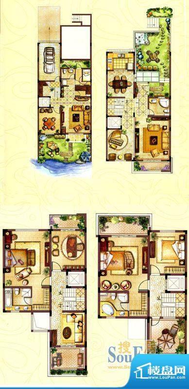 和院别墅C户型 7室4面积:355.00平米